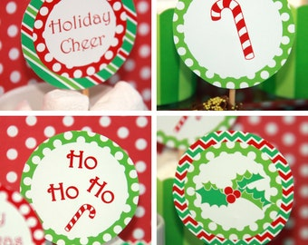 Christmas Party Decorations - Christmas Cupcake Toppers - Christmas Toppers - Christmas Birthday - Christmas Party (Instant Download)