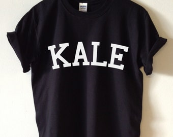 KALE T-shirt High Quality SCREEN PRINT for Retail Quality Print Soft unisex Ladies Sizes. Worldwide Shipping S-2xl Vegetarian Organic