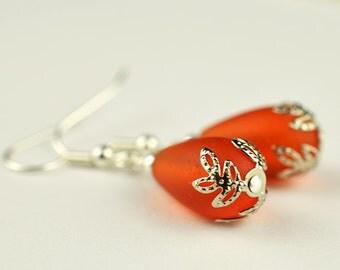 Orange sea glass earrings orange earrings colorful earrings dainty earrings bridesmaids earrings bridesmaids jewelry bridal jewelry gifts