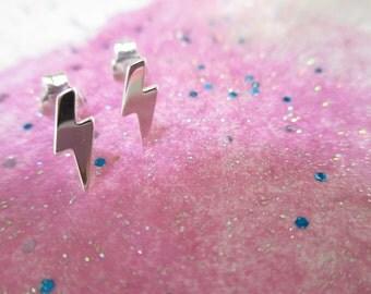 Lightning bolt stud earrings - Sterling Silver