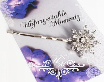 Wedding jewelry Rhinestone snowflake hair pins Bridal headpiece Bridesmaids hair pins Rhinestone hair pins snowflake bobby pins - EALD