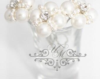 Set of 3 Wedding Bridal headpiece Bridal hair pins Bridesmaids hair pins Pearl Hair pins Swarovski pearl hair pins Vintage Hair pins - AUDEY