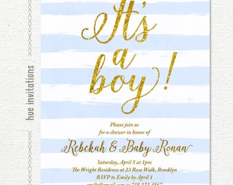 boy baby shower invitation, pastel blue and white watercolor stripes, gold glitter its a boy baby shower invite, baby sprinkle 5x7 S14