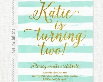 turquoise and gold glitter invitation kids birthday, modern watercolor blue stripes 2nd birthday party invitation, 5x7 printable 159