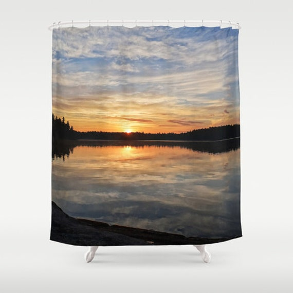 Shower Curtains, Sunrise Photography, Boundary Waters, Bathroom Decor, Bright Images, Reflected Clouds, Forest Home Decor, Woods Theme Bath