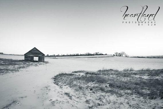 Large Photograph, Old Barn Image, Black and White, Minimalist Art, Big Winter Print, Oversized Farm Photo, Extra Large Wall Art, Simple Pic