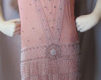 LAST CALL! Vintage Deco Beaded Dress Flapper Style in Salmon Pink Chiffon