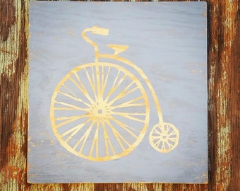12x12 Penny Farthing High Wheel Bicycle Art Made from Reclaimed Wood