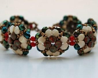 Beadwoven Flower Bracelet , Handmade , Beadwork ,