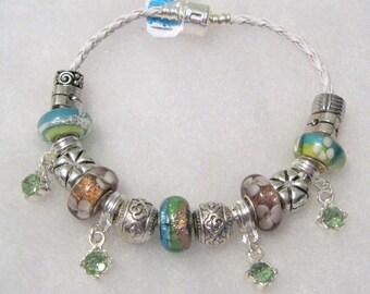 227 - Mauve & Green Beaded Bracelet
