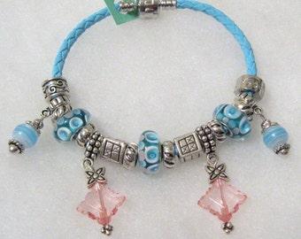 347 - Aqua Beaded Bracelet