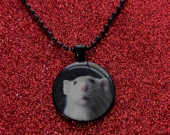 Rat Necklace Sweet Faced Masked White Dumbo Rat Necklace - Black Resin Metal Round Pendant Necklace - Rat Jewelry - MADE TO ORDER!