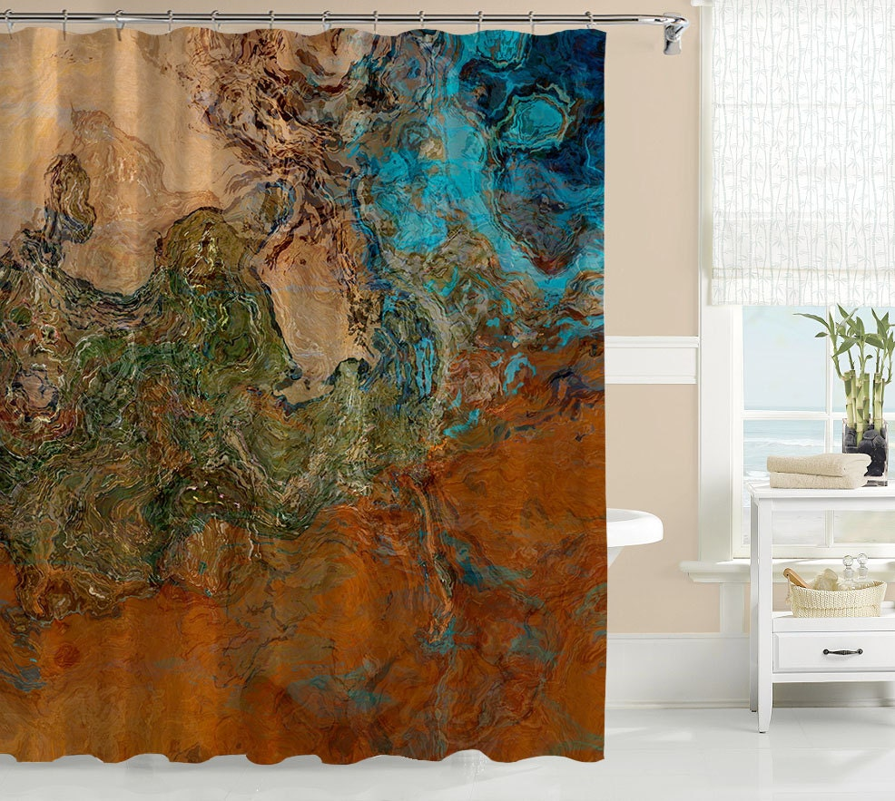 Abstract art shower curtain contemporary bathroom decor for Paintings for bathroom decoration