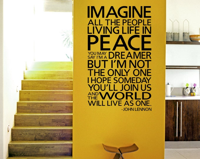 IMAGINE John Lennon Wall Decal Inspirational quote Vinyl sticker home decor lettering saying the Beatles world peace lyrics