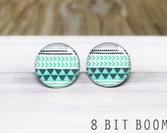 Mint Aztec Stud Earrings - Hypoallergenic Earrings for Sensitive Ears