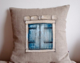 Old turquoise shutters, linen hand painted pillow cover, unique pillow case with mediterranean motifs