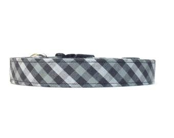 Grey Checkered Dog Collar