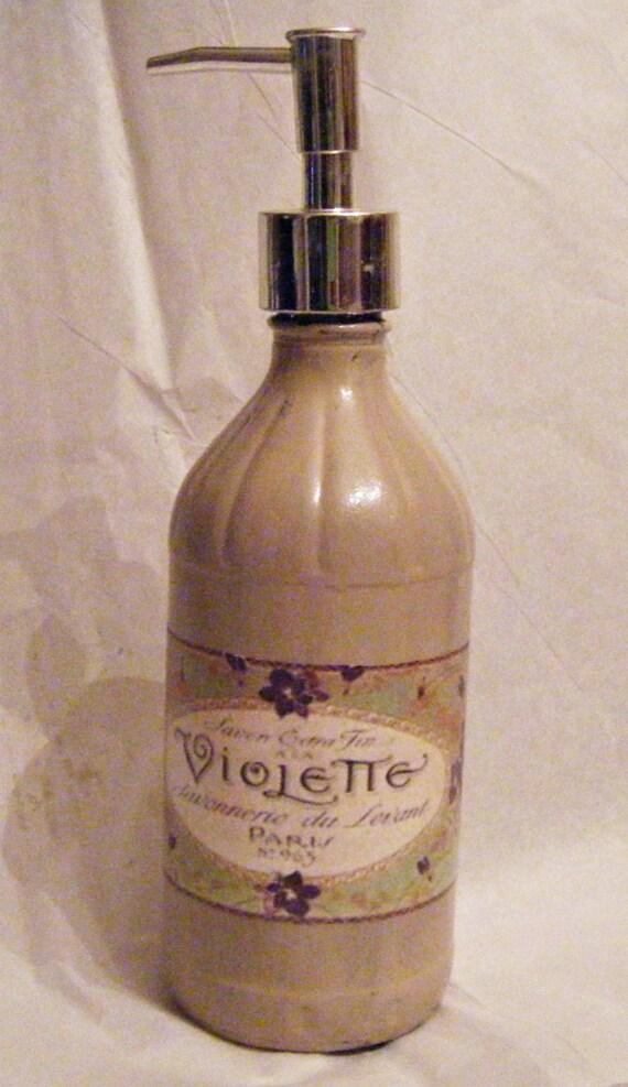 Vintage Glass Liquor Bottle Soap Dispenser