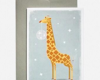 Giraffe Disco Ball Greeting Card