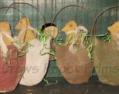Primitive Easter Chick in a half shell doll ornament