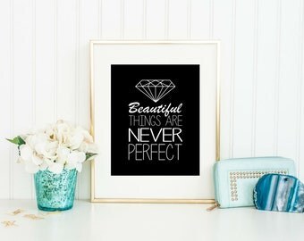 Diamond Decor - Beautiful things are never perfect, Home Decor, Birthday Gift, Geometric Diamond Print, Modern Wall Art, Diamond Art
