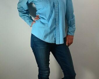 Vintage Western Shirt// Baby Blue Cowboy Shirt// 70s Urban Cowboy Shirt