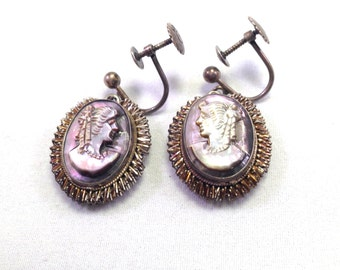 Antique Earrings -- 1920s -- Cameo Earrings -- Mother of Pearl -- Sterling Silver -- Art Deco Downton Abbey Victorian