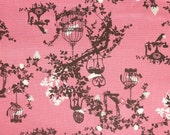 SALE-Fat Quarter of Beautiful Birds on Tree Branches in Pink by Kayo Horaguchi, Made in Japan.