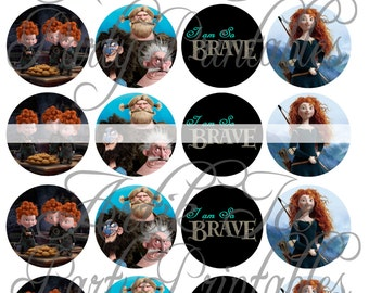 """Brave Merida Birthday Party 2"""" Circles  - Cupcake Toppers, Gift Tags, Etc - Instant Download Princess Themed SALE!!"""