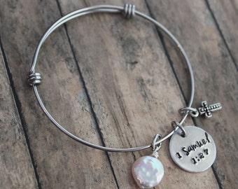 Adoption Bracelet, Custom Hand Stamped Bracelet, 1 Samuel 1:27, For This Child I Have Prayed, Adoption Gift, Infertility, Gotcha Day