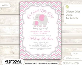 Grey Pink Elephant Baby Shower Invitation card, A sweet Little Girl is on her way, gray chevron, powder pink  - aa33bs
