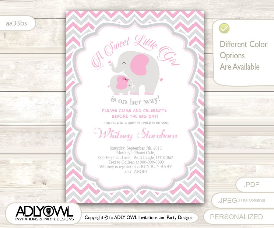 grey pink elephant baby shower invitation card a sweet little