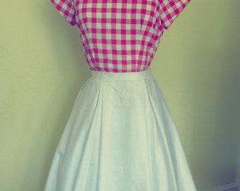 1950s style red and white gingham vintage cotton fitted blouse, bow details, UK size 12