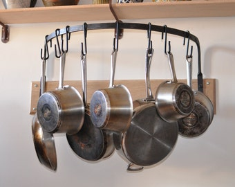 Hand crafted pot-rack and hooks