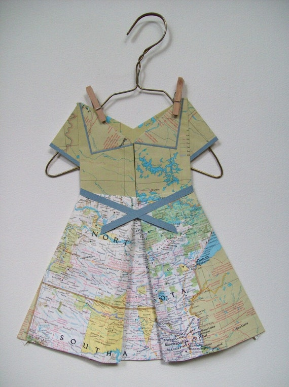 You Are Here: North Dakota / Paper Dress / Origami Vintage Map Dress / Light Green
