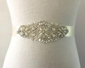 Applique Sash-Wedding Dress Sash-Bridal Sash-Crystal Sash-Rhinestone Sash-Bride Sash-Bridesmaid Sash-Floral Pearl Crystal Applique Sash
