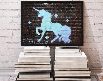 Unicorn Graffiti on Brick Wall * 10x8 Art, Unicorn Decor, Photography * Fantasy, Inspirational, Unicorn Gifts * Printable, Instant Download!