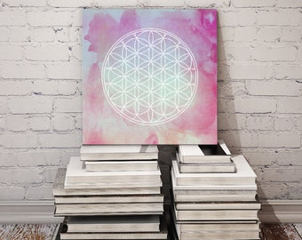 Healing Flower of Life Watercolor Art / Printable New Age Poster / 12x12 Digital Print Download / Sacred Geometry Wall Decor //JPEG Download