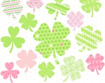 80% OFF SALE Digital Shamrocks, St Patricks Day Clipart, Shamrock Clipart, St Pattys Day