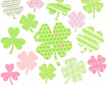 80% OFF SALE Digital Shamrocks, St Patricks Day Clipart, Shamrock Clipart, St Pattys Day