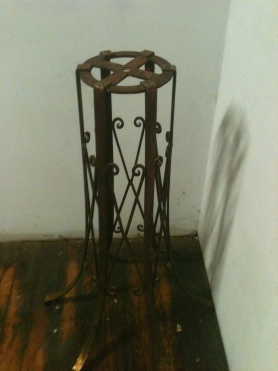 Using Wrought Iron Chandeliers: Amazing Tall Wrought Iron Multi Use Stand Plant Stand