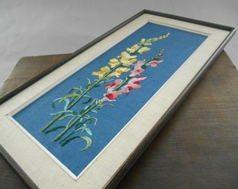 Vintage embroidered wall hanging Floral yarn picture Framed embroidery Embroidered wild flowers