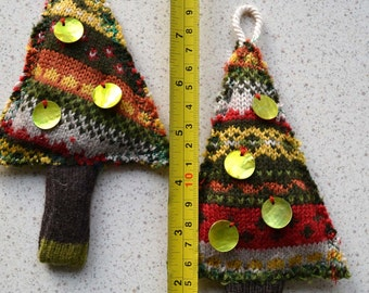 sweater Christmas tree ornaments set of 2