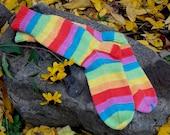 Hand Knit Rainbow Socks / Bright Striped Socks / Unisex Socks