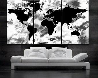 Large world map art  Etsy