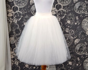 Ivory Tulle Skirt - Adult Knee Length Tutu with Stretch Lycra Wastband - Custom Size - Made to Order