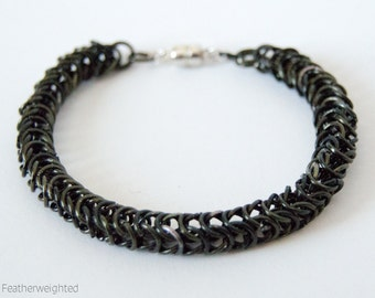 Black alumnium byzantine chain bracelet with magnetic clasp | handmade jewelry for charity.
