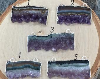Amethyst Slice, Amethyst Connector, Amethyst Slice Pendant, Amethyst Druzy Pendant, Drusy Pendant, Silver, PS1103
