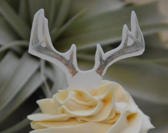 24 Deer Antler Cupcake Topper (Edible)