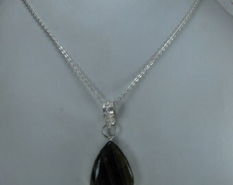 Sale - Natural Tiger Eye Pendant Necklace,37.7 ct.Teardrop Pendant